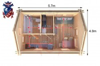 Log Cabin Meads 4.0m x 5.7m - 617 7