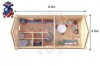Log Cabin Newhaven 4.0m x 8.0m - 649 6