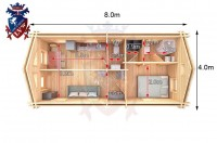 Log Cabin Exceat 4.0m x 8.0m - 667 6