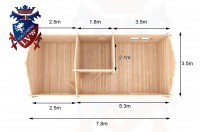 Log Cabins Barcombe 7.8m x 3.5m - 304 1