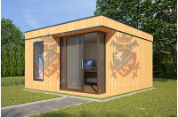 Log Cabins Sussex Siberian Larch Clad Fully Insulated Garden Office Elizabeth (4.0m x 4.0m)-2